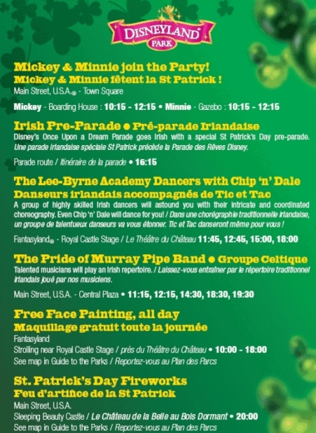 St Patrick's Day programma in het Disneyland Park