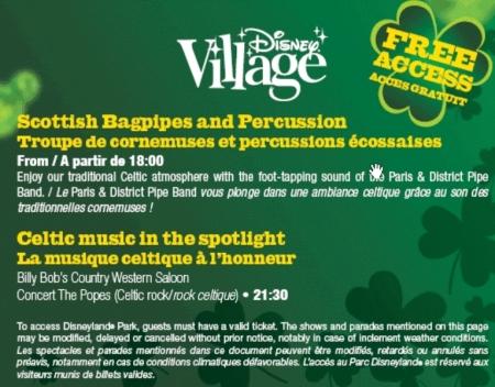 St Patrick's Day programma in Disney Village