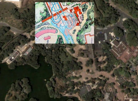 Splash Mountain blueprint in Parijs op Google Maps
