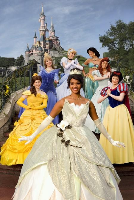 Princess Tiana met de andere Disney Prinsessen in het Disneyland Park