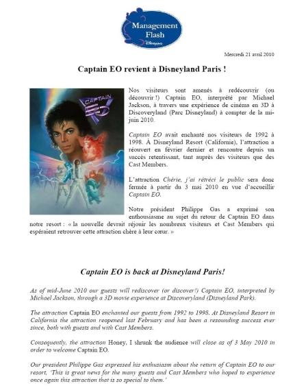 Interne aankondiging Captain EO