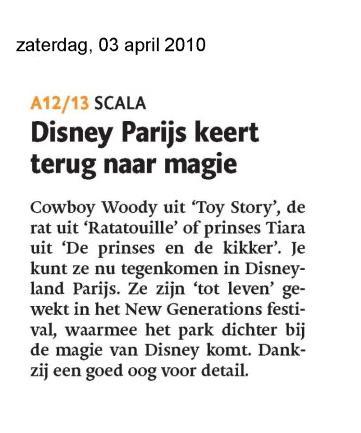 """""""Terug naar de magie van Disney"""" - Dagblad de Limburger 03-04-2010 (aankondiging)"""
