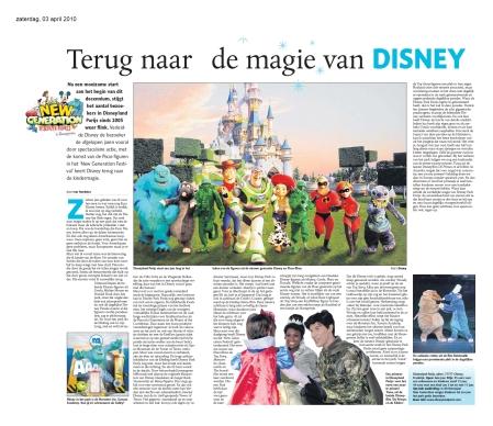 """""""Terug naar de magie van Disney"""" - Dagblad de Limburger 03-04-2010 (artikel)"""