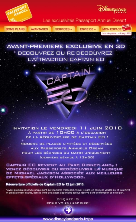 Avant-Premiere Captain EO voor Dream jaarkaarthouders